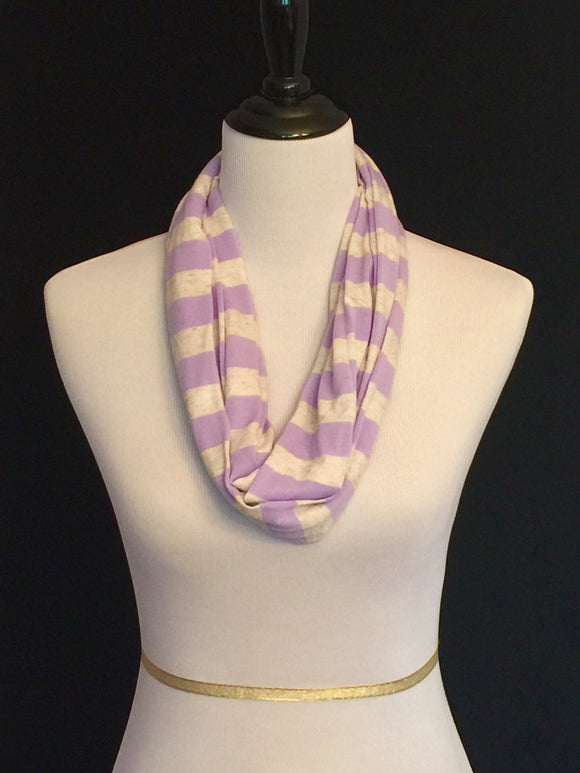 Lavender & Oatmeal Stripes Petite Infinity Scarf