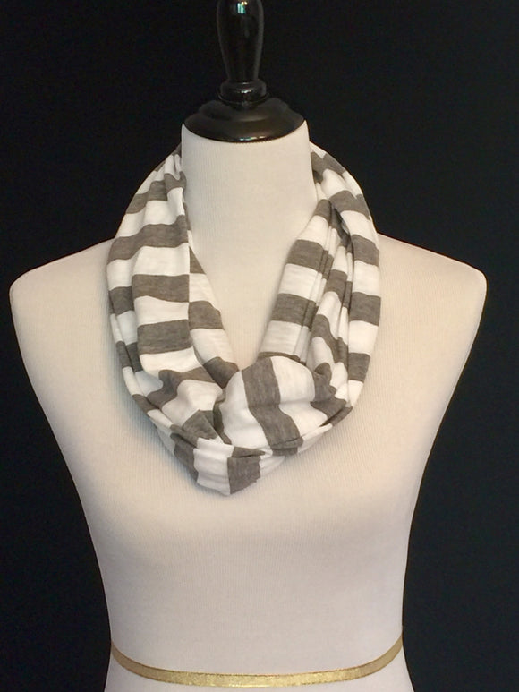White & Heather Gray Stripes Petite Infinity Scarf