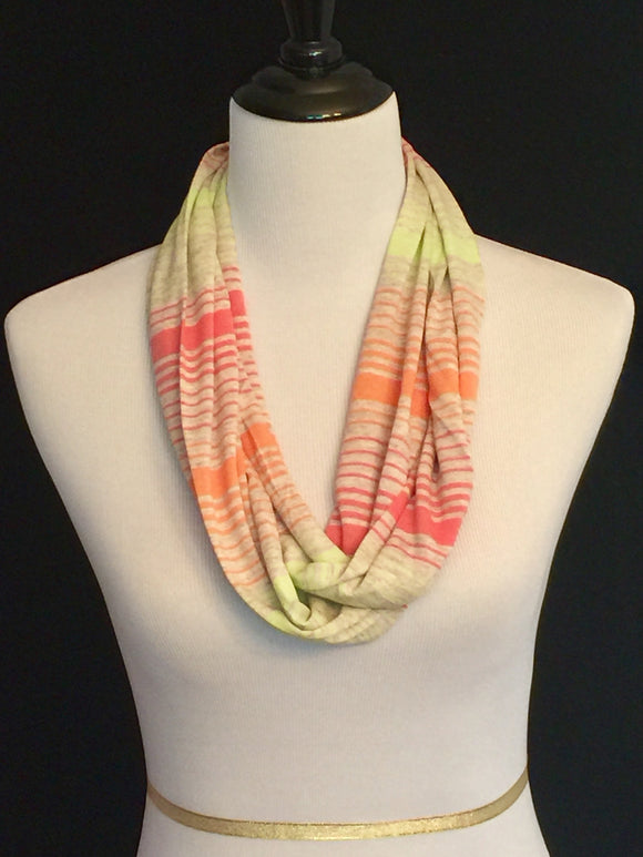 Neon Yellow, Orange, Pink on Tan with Stripes Petite Infinity Scarf