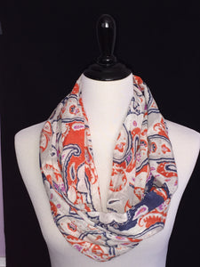 Cream, Navy Blue & Orange Paisley