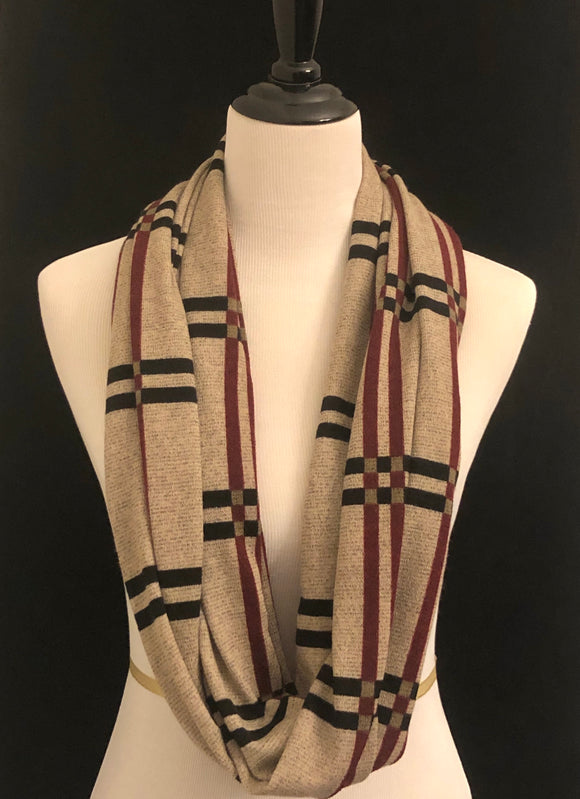 Tan with Black & Maroon Stripe