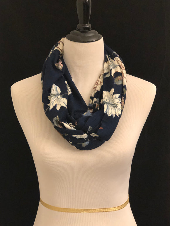 Navy Blue with Cream Flowers Petite Infinity Scarf