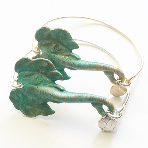 Patina Elephant Bangle