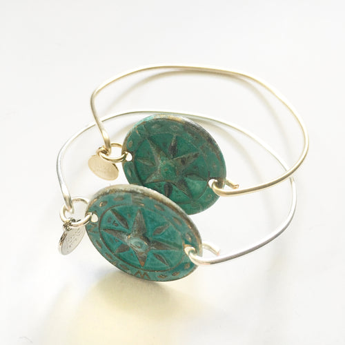 Patina Compass Bangle