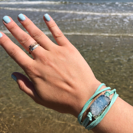 Teal Druzy Clover Ring