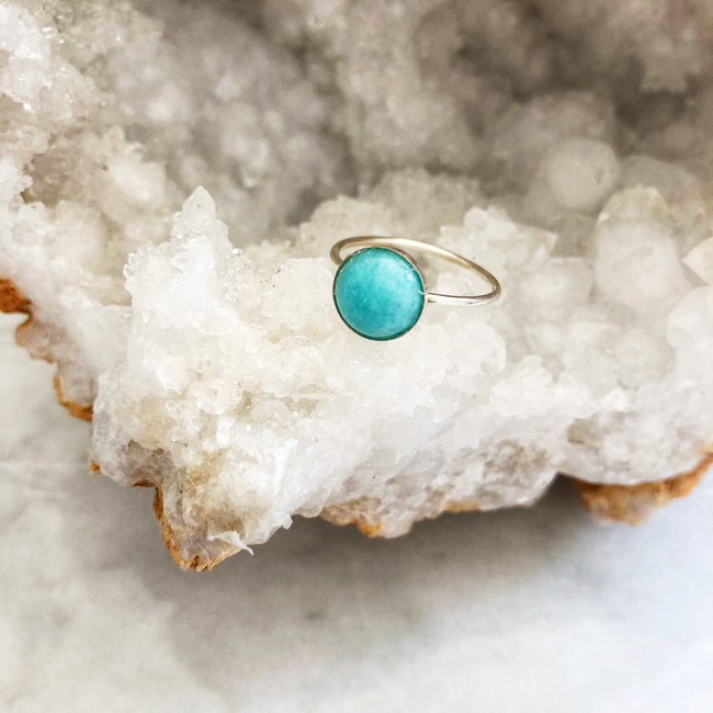 Amazonite Clover Ring