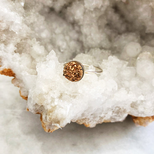 Rose Gold Druzy Clover Ring
