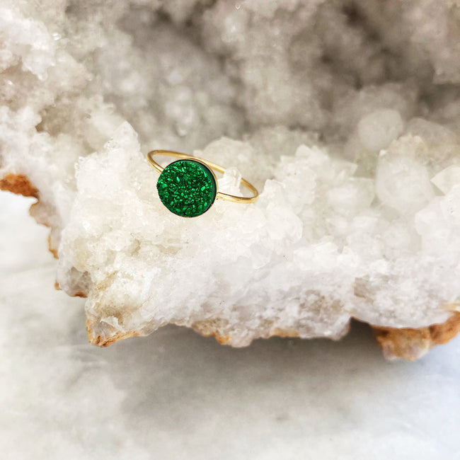 Emerald Druzy Clover Ring