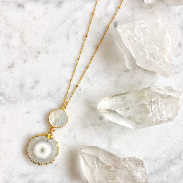 Solar Quartz & Mother of Pearl Ceia Necklace