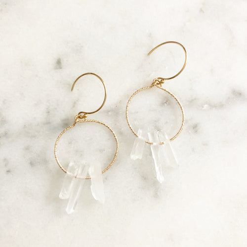 Mini Quartz Hoop Earring