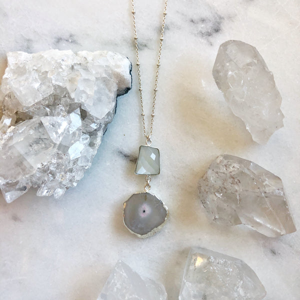 Solar Quartz & Moonstone Aura Necklace