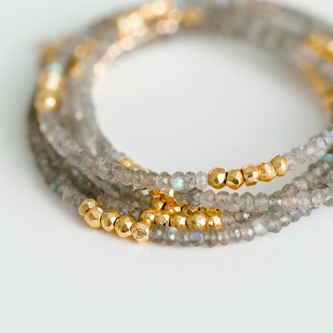 Labradorite & Gold Beaded Wrap