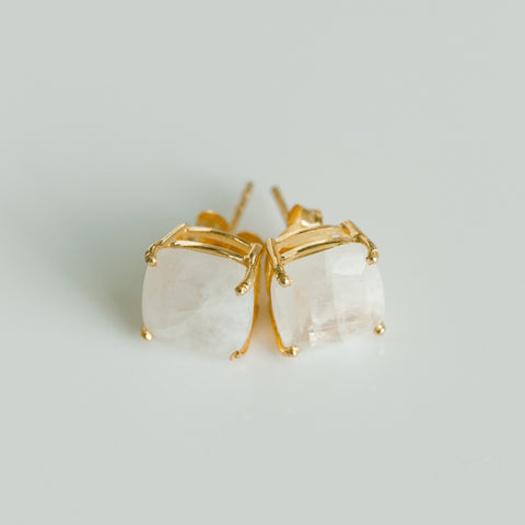 Emmy Studs - Rainbow Moonstone