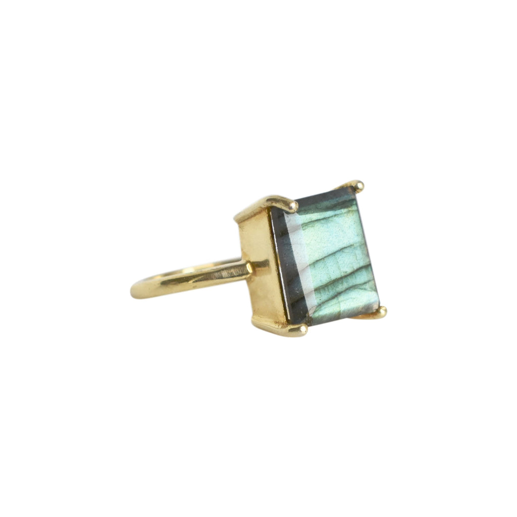 Labradorite 4 Prong Ring