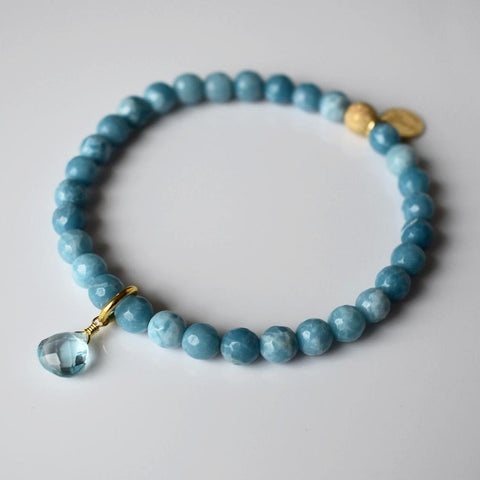 Teardrop Gemstone Beaded Bracelet - Blue Larimar