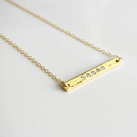 Gold Bar CZ Necklace
