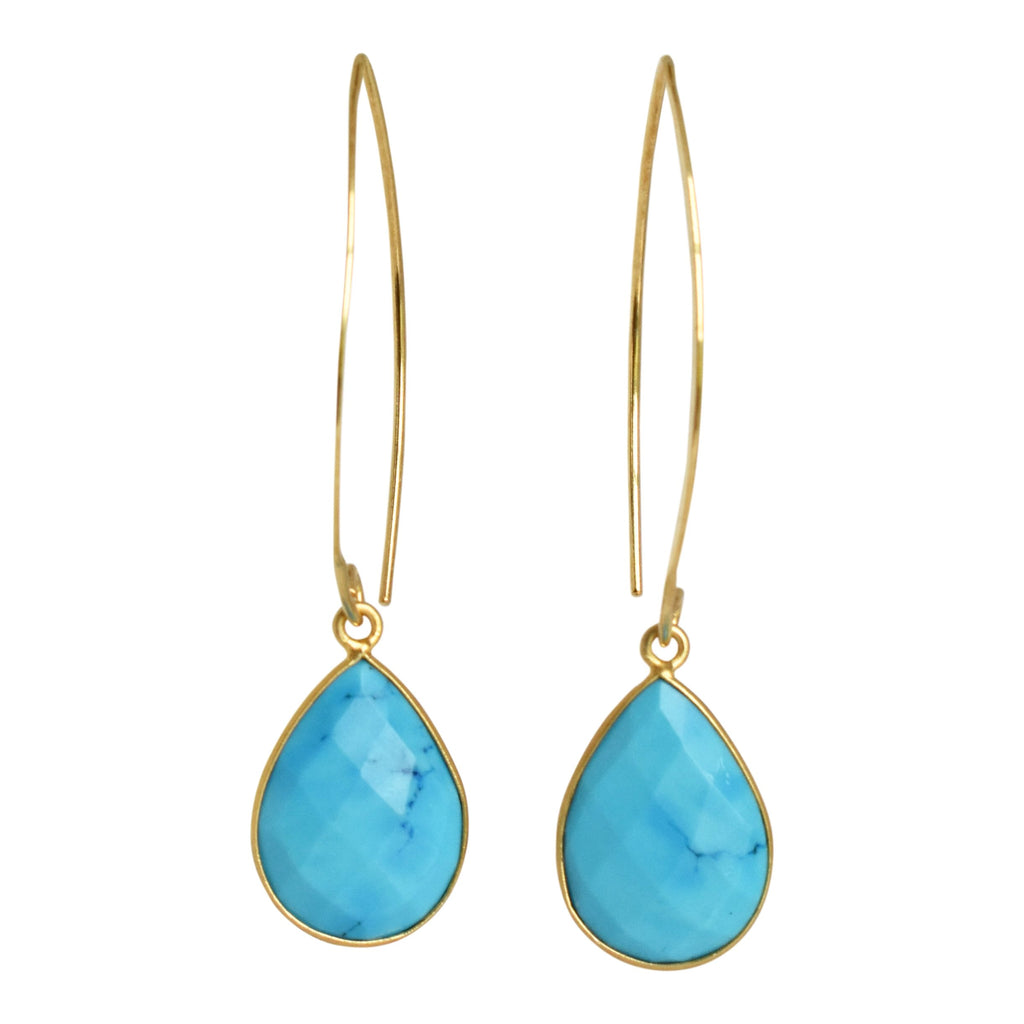 Teardrop Marquis Earrings - Turquoise