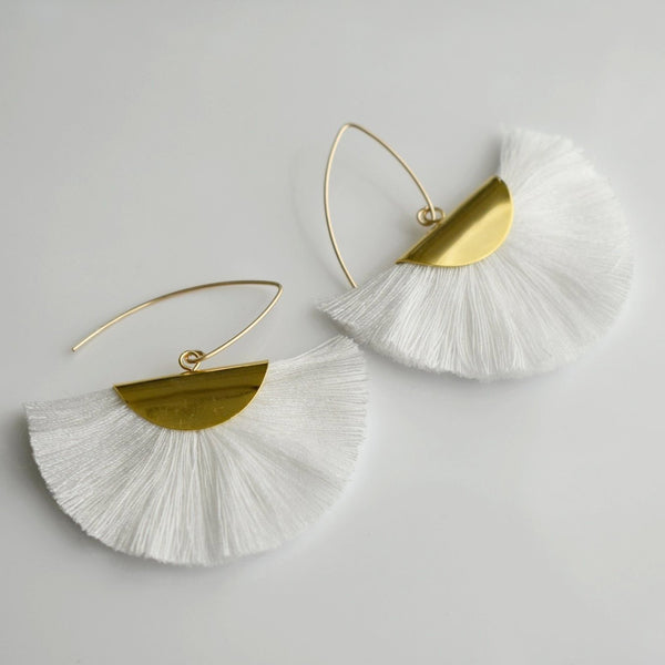 Fan Tassel Earrings - White