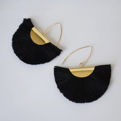 Fan Tassel Earrings - Black