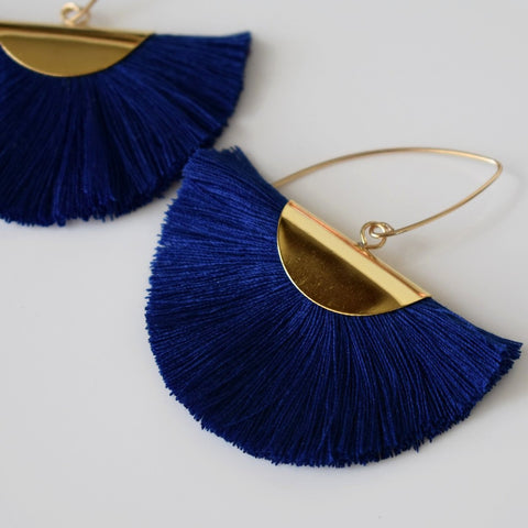 Fan Tassel Earrings - Navy Blue