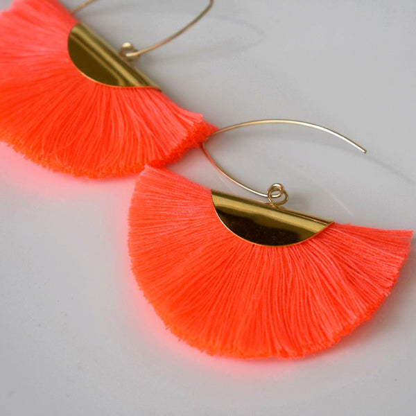 Fan Tassel Earrings - Neon Pink