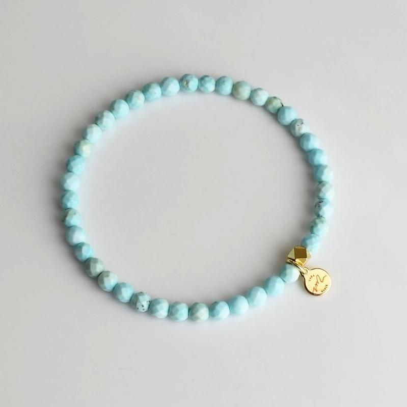 Mini Beaded Bracelet - Faceted Light Turquoise