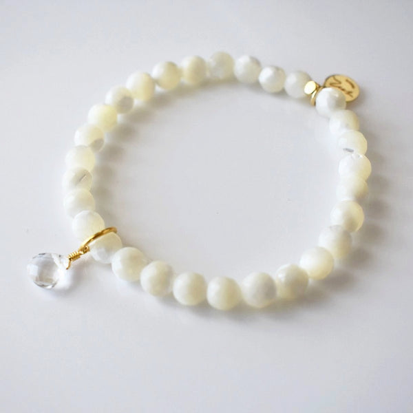 Teardrop Gemstone Beaded Bracelet - Mother of Pearl