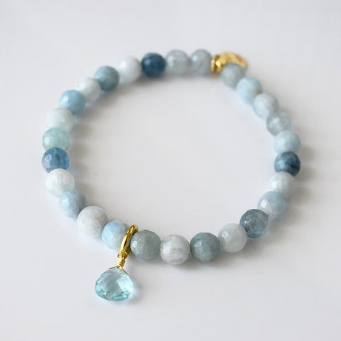 Teardrop Gemstone Beaded Bracelet - Aquamarine