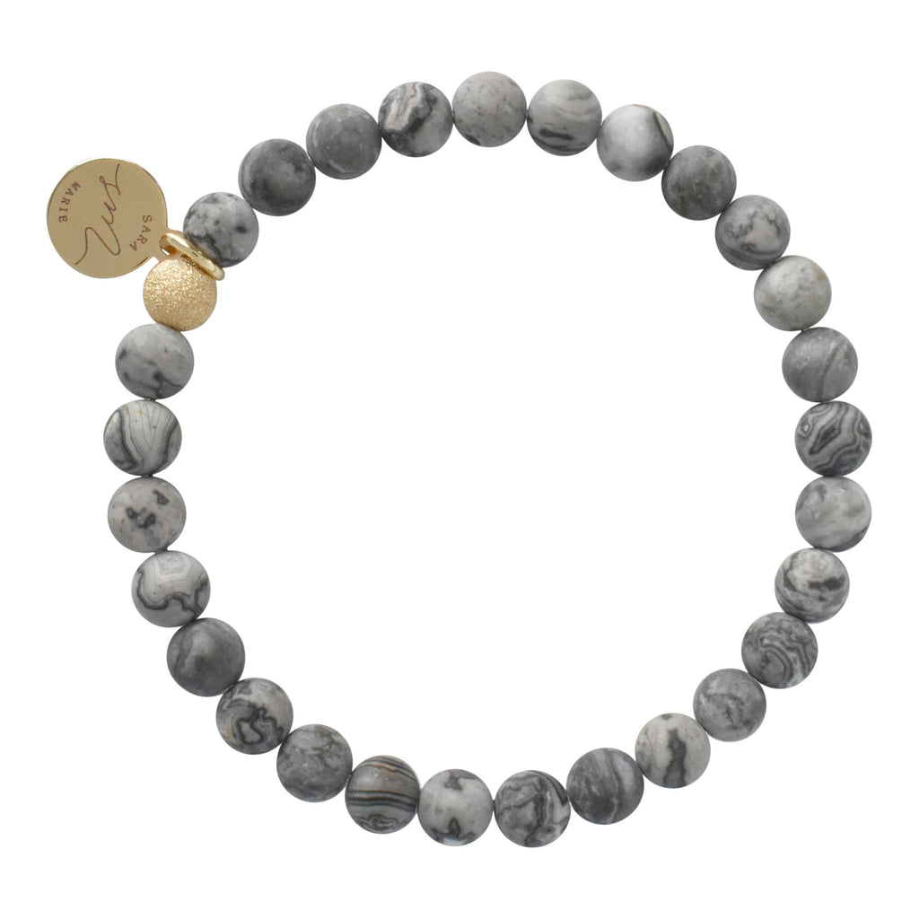 Gray Crazy Lace Beaded Bracelet