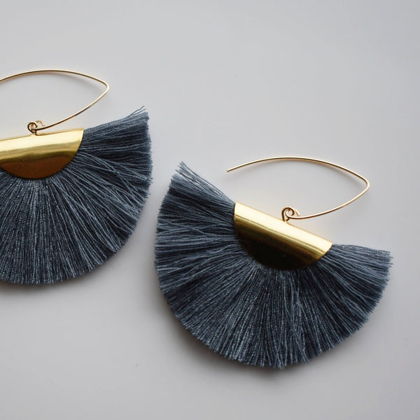 Fan Tassel Earrings - Gray