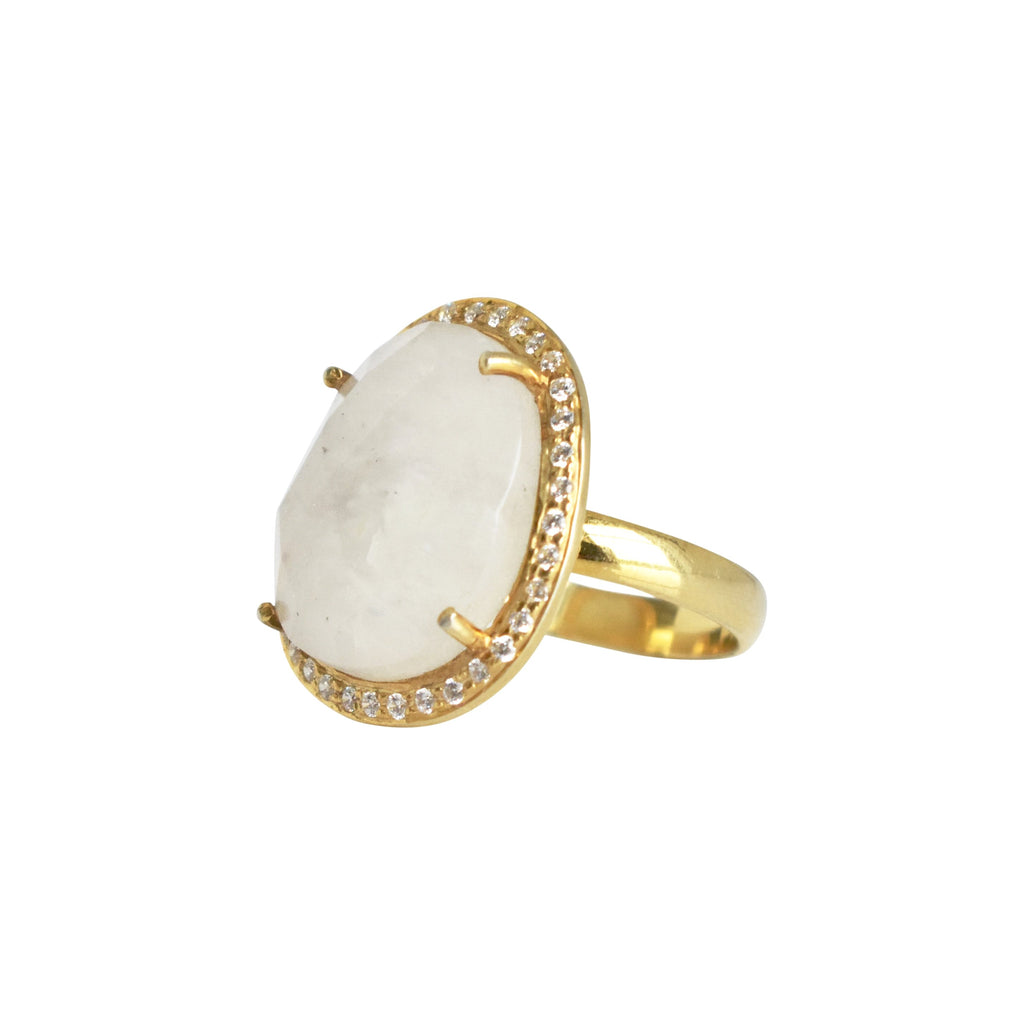 Cosmo Ring Rainbow Moonstone