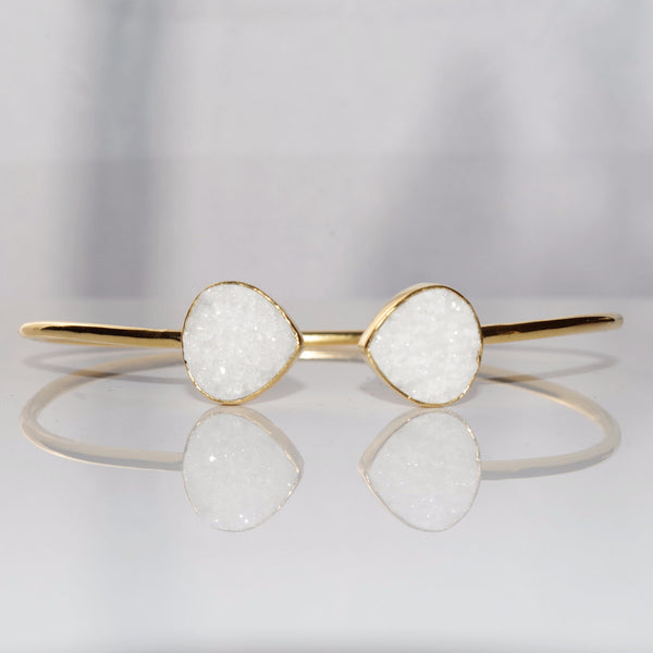 White Druzy Adjustable Bangle