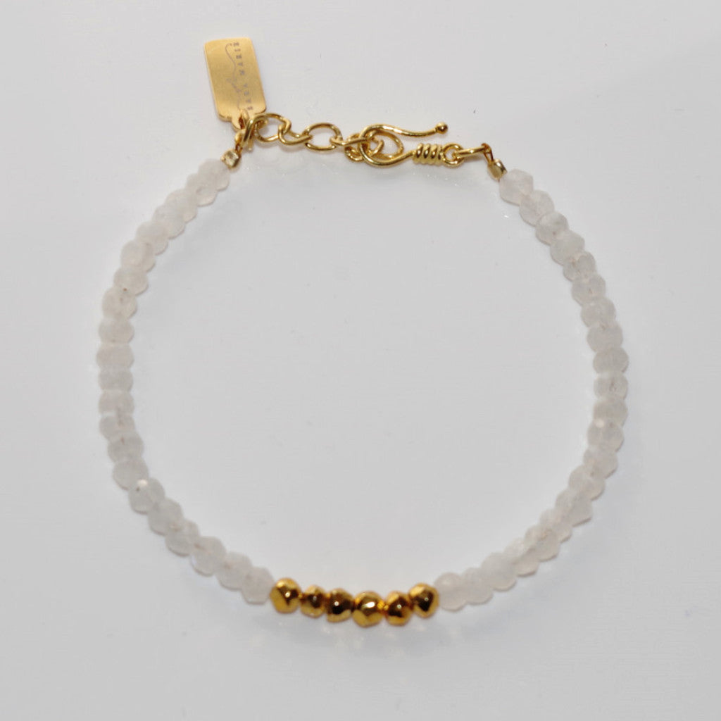 Rainbow Moonstone & Golden Pyrite Bracelet