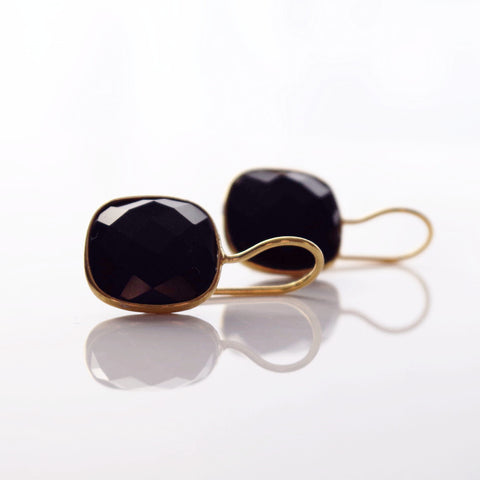 BLACK ONYX CUSHION CUT DROP EARRINGS