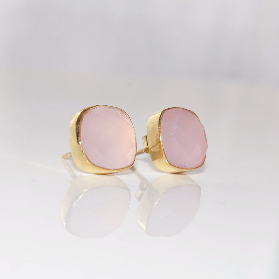 ROSE PINK CHALCEDONY STUDS - CUSHION CUT