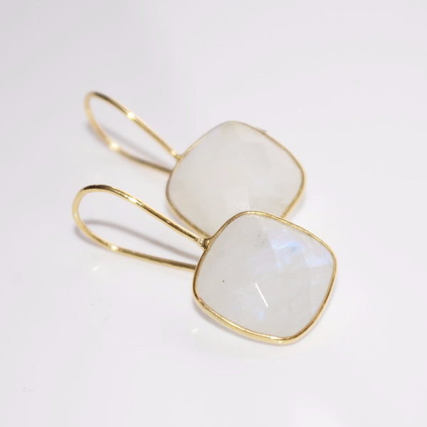 Moonstone Cushion Cut Drop Earrings