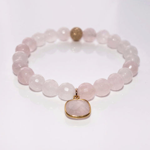 LUXE Beaded Bracelet - Faceted Rose Quartz