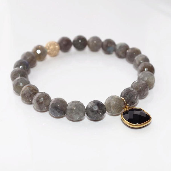 LUXE Beaded Bracelet - Faceted Labradorite & Black Onyx