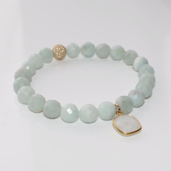 LUXE Beaded Bracelet - Faceted Natural Amazonite