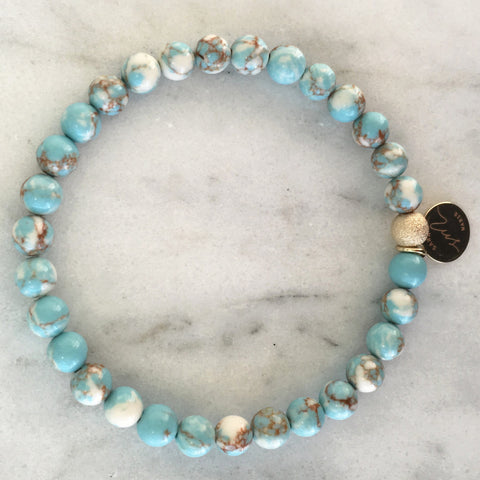 Marbled Turquoise Beaded Bracelet