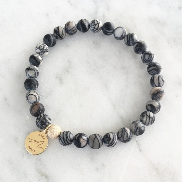 Black Zebra Jasper Beaded Bracelet