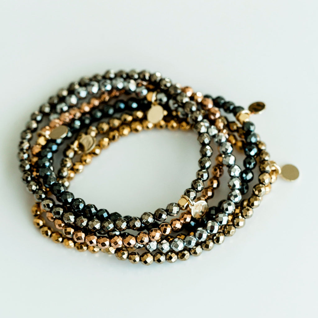 Mini Beaded Bracelet - Metallic