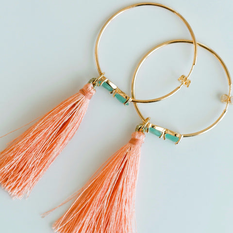 Tassel Gemstone Hoop Earrings - Aqua Chalcedony & Coral