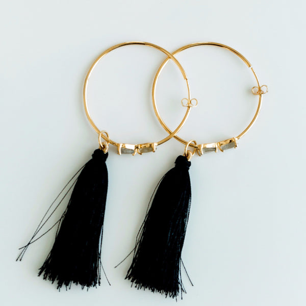 Tassel Gemstone Hoop Earrings - Labradorite
