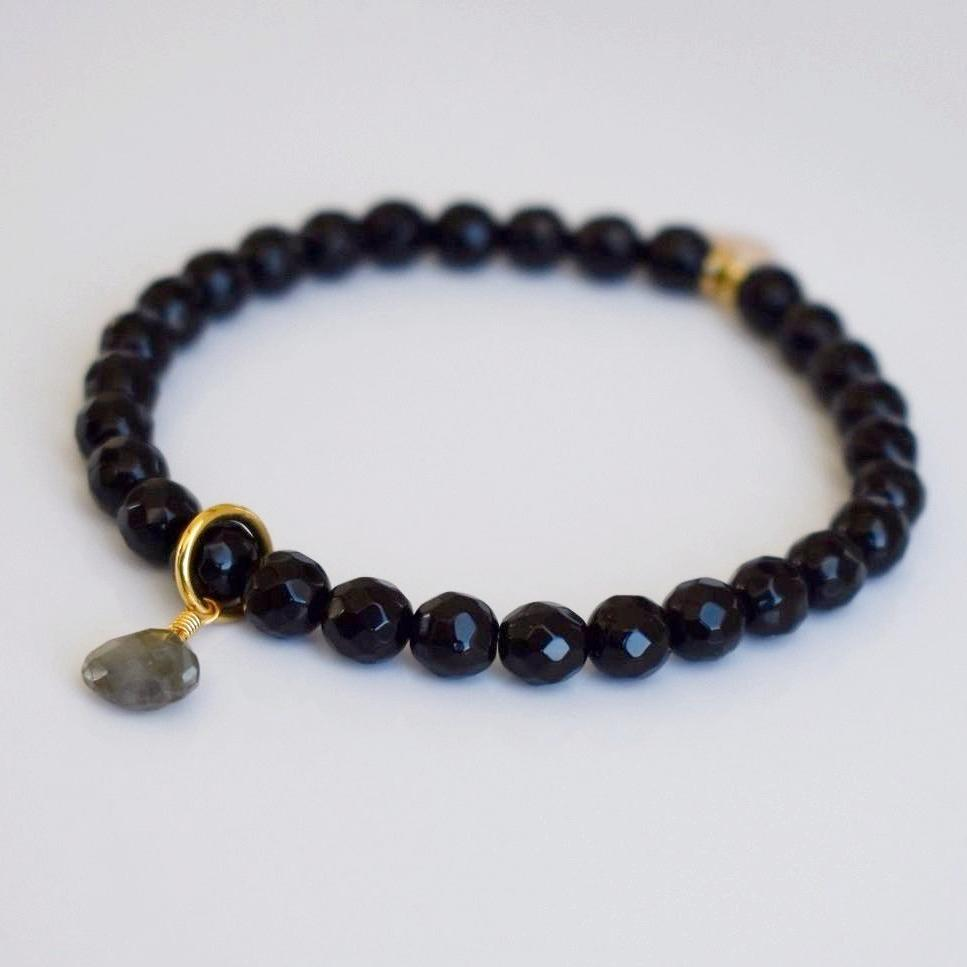 Teardrop Gemstone Beaded Bracelet - Black Onyx