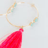 Tassel Gemstone Hoop Earrings - Aqua Chalcedony & Pink
