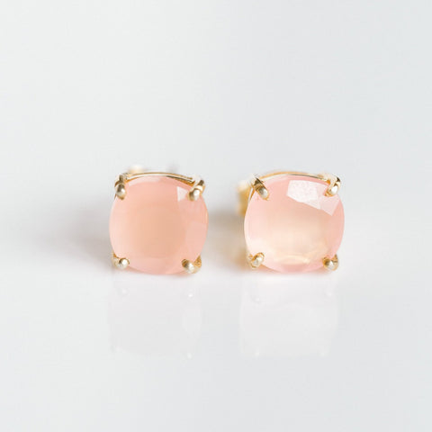 Emmy Studs - Rose Quartz