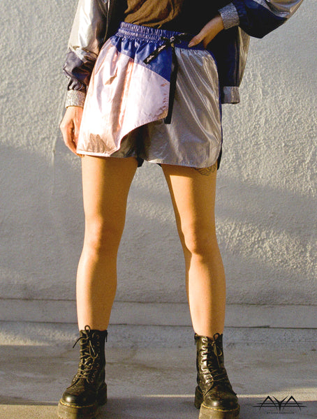 ASYMMETRIC FRONT SHORTS/SKIRT WITH MULTI COLOR BLOCKS