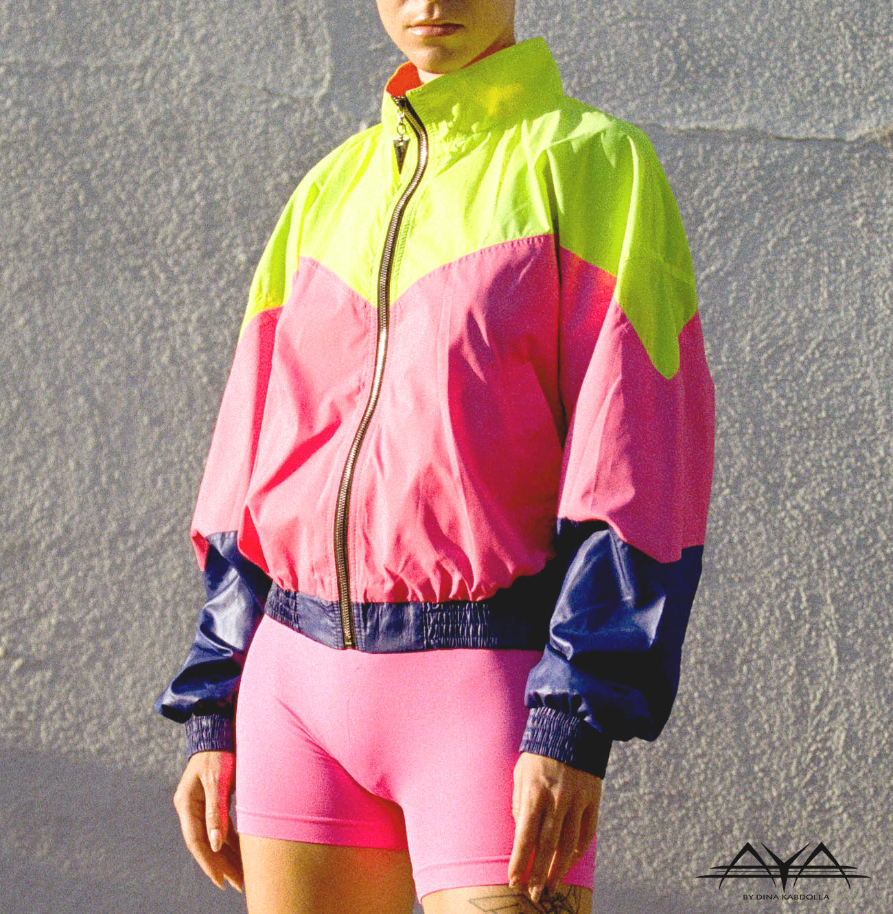 NEON CRUSH JACKET WITH MULTI COLOR BLOCKS