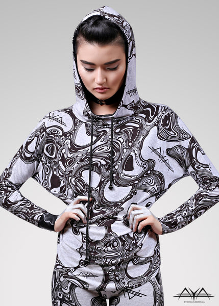Unisex Printed Hoodie Light Grey